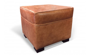 Box Pouffe in Old English Saddle