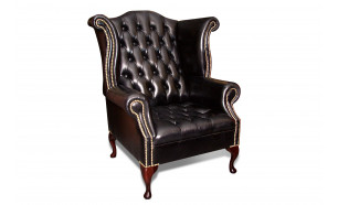 Blenheim Scroll Wing Chair in OE Black with Brass Studs