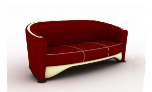 The Chesterfield in Burgundy Velvet with Cream Leather Border and Trim