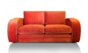 Gatsby 2.5 Seater in Mystere Tangerine with Mystere Moss