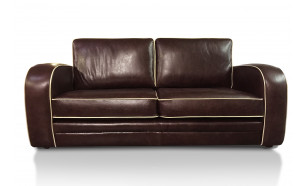 Kingsbury 3 Seater in OE Red Brown with Cambridge Stone Piping