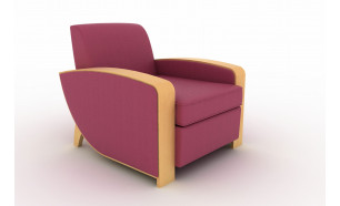 The Stable in Raspberry Leather by Andrew Muirhead, armrests in Lebanon Cedar