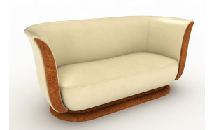 The Tulip in Polar Leather by Andrew Muirhead. Panelling and Base in Elm Burr